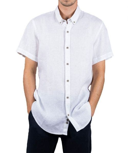 Touché  Camisa Slim Fit de Lino - Manga Corta