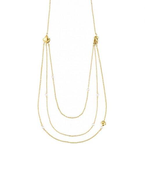 Tous  Collar Oceaan - Cadena Triple Conchas y Perlas